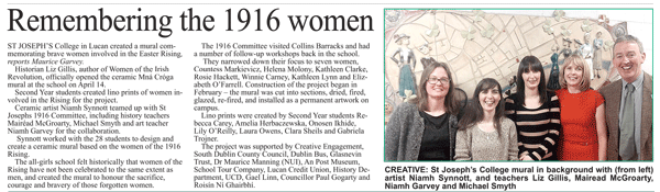 St. Joseph's College, Lucan 'Remembering the 1916 Women'