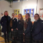 Former teacher Ms Adrienne Webb from St. Michael's who came to see the exhibition, with some of the students.